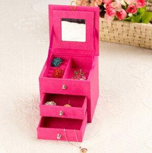 小柄ジュエリーケース 選べる4色 2段引き出し アクセサリー収納 小物入れ 宝石箱 鏡付き