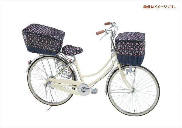 自転車カゴカバー前用前カゴカバー2段式フラワーピンク収納たっぷり撥水加工オリンパスモダンアートシリーズ