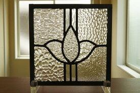 ステンドグラス 花とライン 8種のクリア 18cm×18cm