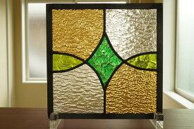 ステンドグラス ダイヤと楕円 グリーン×イエロー 20cm×20cm