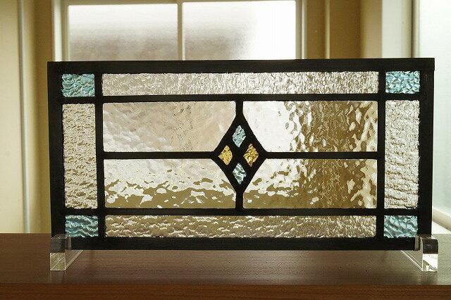 ステンドグラス 四つのダイヤ 横長方形 水色×イエロー 30cm×15cm