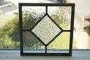 ステンドグラス パネル 住宅用 正方形ダイヤ クリア 18cm×18cm【ステンド 室内窓 壁埋め込み カラーレス ひし形 小窓…