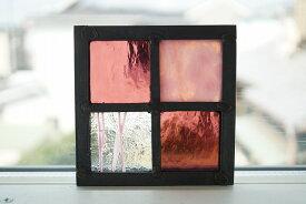 ステンドグラス パネル 住宅用 格子2×2小 ピンク×パープルの組み合わせ 9cm×9cm 【ステンド 室内窓 壁埋め込み 小窓 スクエア 明かり採り】
