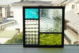 ステンドグラス 四つのガラス3 グリーン 18cm×18cm