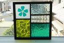 ステンドグラス パネル 住宅用 5つのガラスMIXフュージング桜 グリーン 18cm×18cm【ステンド 室内窓 壁埋め込み チェ…