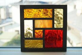 ステンドグラス 7つのガラス イエロー×オレンジ×レッド 12cm×12cm