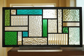 ステンドグラス 四角と長方形2 グリーン×ブルーグリーン×クリア 40cm×20cm