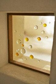 フュージング ガラス玉 イエロー 18cm×18cm