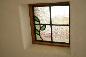 ステンドグラス 小さな葉っぱ 18cm×18cm