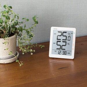 温湿度計 デジタル 卓上置き型 壁掛け兼用 時計表示 インフルエンザ 熱中症 乾燥 環境目安表示