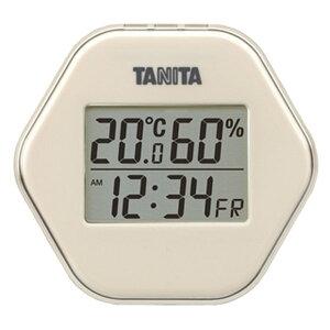 温湿度計 温度計 湿度計 デジタル タニタ 時計 日付表示付き 薄型 コンパクト アイボリー
