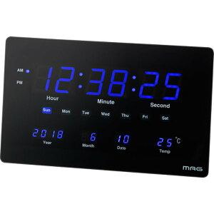大型デジタル時計 壁掛け置き両用 交流電源式 薄型 長方形 幅36cm おしゃれ 温度計 カレンダー表示付き