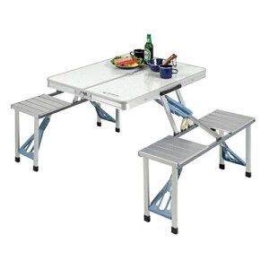 レジャーテーブルチェアー ピクニックテーブル アルミ製 折りたたみ 折り畳み