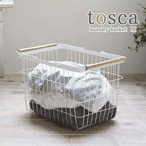 ランドリーバスケット 洗濯かご 洗濯籠 カゴ スチール 天然木製 Mサイズ トスカ 白 ホワイト