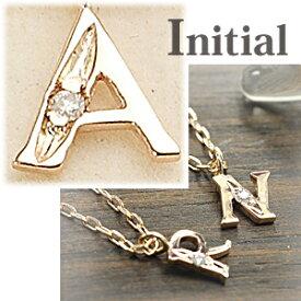 イニシャル ネックレス ブロック体 A ダイヤモンド 10金 ゴールド K10 重ねづけも素敵にきまる プチネックレス
