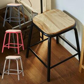 スツール PC-66BK PC-66RD PC-66SVスツール チェア 椅子 スチール 軽量 カラフル かわいい ポップ 天然木 玄関 リビング インテリア 家具 おしゃれ デザイン【送料無料】