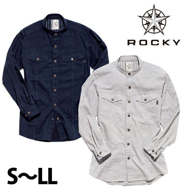 Rocky|ロッキー|通年作業服|レディーススタンドカラー長袖シャツ RS4301