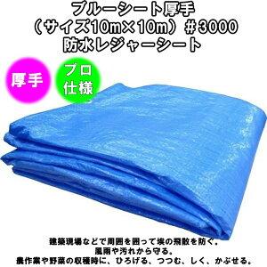 ブルーシート#3000【厚手】(サイズ10m×10m)【2枚セット】防水