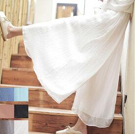 スカーチョ ワイドフレアパンツ レディース ガウチョパンツ ワイドパンツ スカーチョ エアーパンツ 綿混紡 リネンワイドパンツ ウエストゴ ム無地 涼しい ゆったり 少し透け感 リゾート/海 痩せ 柔らかい 履き心地よい
