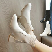 ショートブーツソックスブーツレディース秋冬PUブーツヒール6cm靴下ブーツチャンキーヒール大きいサイズ美脚厚底疲れない安定感歩きやすいシューズポインテッドトゥレディース靴ストレッチブーツストレッチおしゃれニット履きやすい