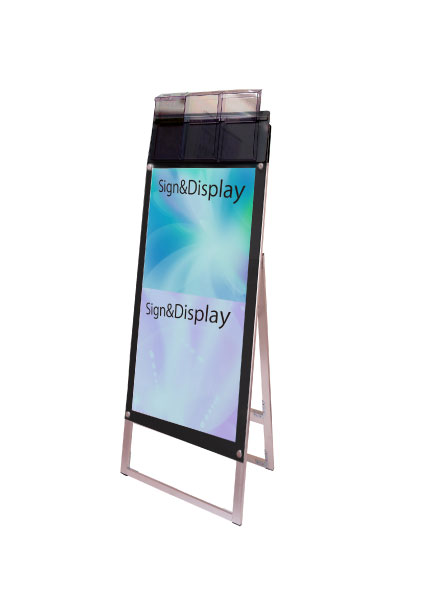ポスター用スタンド看板パンフレットケース付 A3縦縦片面ブラック(屋外用) PSSKP-A3TTKB-G