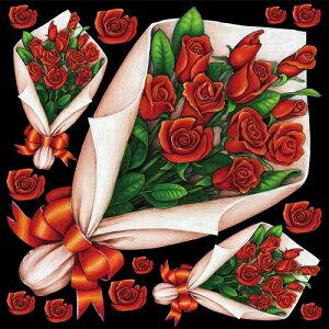 シール 花束 赤バラ 装飾 デコレーションシール チョークアート 窓ガラス 黒板 看板 POP ステッカー (最低購入数量3枚〜)