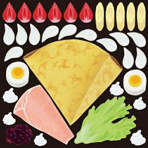 シール フルーツクレープとハム 野菜 装飾 デコレーションシール チョークアート 窓ガラス 黒板 看板 POP ステッカー (最低購入数量3枚〜)