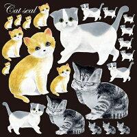 [シール]アメリカンショートヘアとスコッチフォール猫装飾デコレーションシール窓ガラス・黒板・看板用