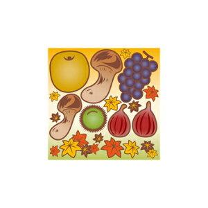 シール 秋 味覚 栗松茸 イラスト 装飾 デコレーションシール チョークアート 窓ガラス 黒板 看板 POP ステッカー (最低購入数量3枚〜)