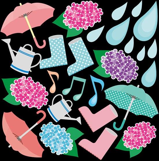 シール 梅雨 雨具 傘 長靴 ジョウロ 紫陽花 雨マーク 装飾 デコレーションシール チョークアート 窓ガラス 黒板 看板 POP ステッカー 用