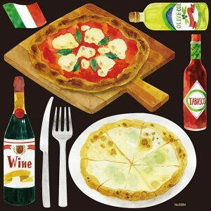シール 洋食カフェ ピザ ピッツァ ワイン マルゲリータ タバスコ 装飾 デコレーションシール チョークアート 窓ガラス 黒板 看板 POP ステッカー (最低購入数量3枚〜)
