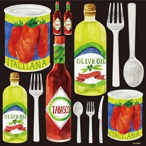 シール 調味料 洋食 トマト オリーブオイル フォーク スプーン タバスコ 装飾 デコレーションシール チョークアート 窓ガラス 黒板 看板 POP ステッカー (最低購入数量3枚〜)
