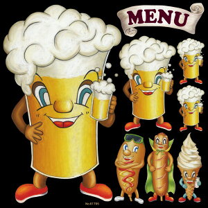 シール キャラクター ビール フランクフルト ソフトクリーム MENU 装飾 デコレーションシール チョークアート 窓ガラス 黒板 看板 POP ステッカー (最低購入数量3枚〜)