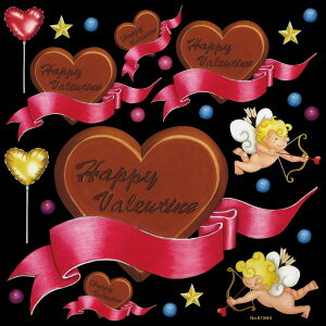 シール バレンタイン チョコレート ハートマーク リボン キューピット 装飾 デコレーションシール チョークアート 窓ガラス 黒板 看板 POP ステッカー (最低購入数量3枚〜)