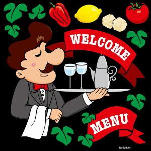 シール キャラクター ウェイター 男性 WELCOME MENU 野菜 レストラン 装飾 デコレーションシール チョークアート 窓ガラス 黒板 看板 POP ステッカー (最低購入数量3枚〜)