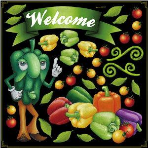 シール パプリカ リボン welcome ピーマン パプリカ トマト 野菜 装飾 デコレーションシール チョークアート 窓ガラス 黒板 看板 POP ステッカー (最低購入数量3枚〜)