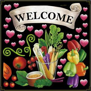 シール バーニャカウダー リボン スティック 野菜 トマト ハート パプリカ welcome 装飾 デコレーションシール チョークアート 窓ガラス 黒板 看板 POP ステッカー (最低購入数量3枚〜)