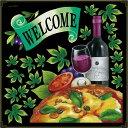 シール ピザ ワイン リボン welcome アイビー ボトル 装飾 デコレーションシール チョークアート 窓ガラス 黒板 看板 POP ステッカー 用