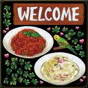 シール パスタ トマトソース クリームソース アイビー インコ welcome 装飾 デコレーションシール チョークアート 窓…