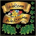 シール リボン welcome 花 アイビー 装飾 デコレーションシール チョークアート 窓ガラス 黒板 看板 POP ステッカー 用