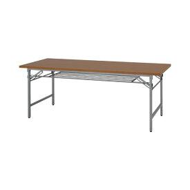 折りたたみテーブル W1800×D450 チーク色 (棚付) 708G-41279-1*