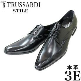 トラサルディー メンズ本革ビジネスシューズ TR13071A 黒 3E スワールモカ 紳士靴 trussardi