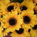 ヒマワリ造花(アートフラワー)13cm 1輪付(造花 ひまわり・造花サンフラワー)