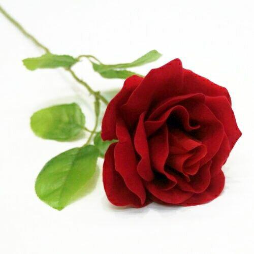 ベルベットローズ(バラ造花・アートフラワー)赤 1輪