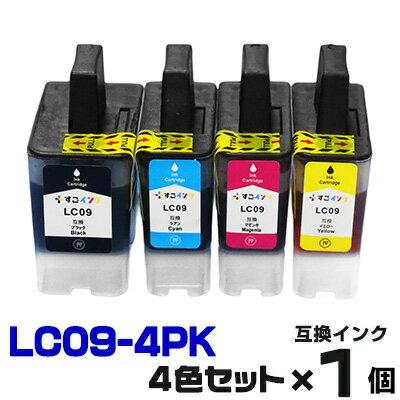インク LC09-4pk プリンターインク インクカートリッジ いんく インキ 互換インク インクジェット LC09 LC09BK LC09C LC09M LC09Y MFC-840CLN MFC-830CLN MFC-830CLN 4色セット MyMio マイミーオ マイミオ 9 09 黒 ブラック 送料無料