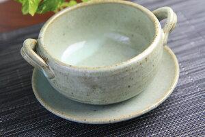 【スープ皿】灰釉皿付スープカップ