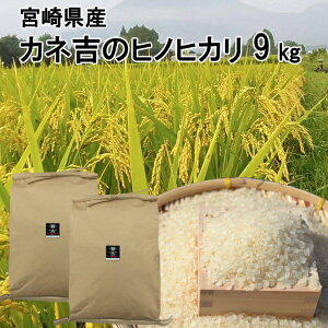 カネ吉/農薬・化学肥料を抑えて「美味しくて安全安心なお米づくり」だけを考えて育てたお米/令和2年宮崎県産ヒノヒカリ9kg(4.5kg×2袋)
