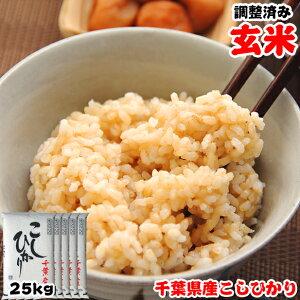 令和2年産 千葉県産 こしひかり 玄米 25kg(5kgx5袋) 玄米食でも安心!再調整済み お米 ギフト