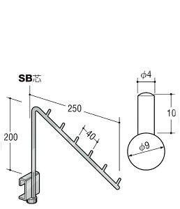 ロッドフック スロープアップタイプ 9φ 【 ロイヤル 】クロームめっき 9RU-6-2 [サイズ:φ6×H200×D250mm]