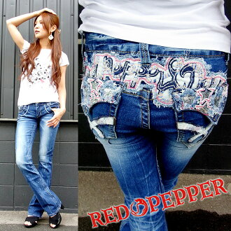 (REDPEPPER) red pepper RED PEPPER ladies #5589 2012 spring summer new sherbet color star-sequin embroidery スリムタイトブーツ cut denim 5589! LOLITA ( Lolita )